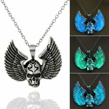 Punk Vintage Silver Glow In The Dark Skull Wings Pendant Necklace Luminous Gift