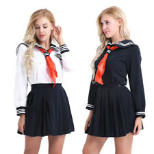 3pcs Japanese High School Girl Fancy Dress Outfits Sailor Suit Cosplay Costume