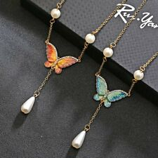 1PC Women Crystal Rhinestone Pearl Butterfly Pendant Necklace Fashion Jewelry