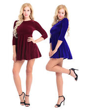Womens Long Sleeve Velvet Work Office Evening Cocktail Party Skater Short Dress