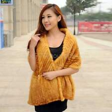 100% Real Genuine Knitted Mink Fur Cape Stole Shawl Scarf Wrap Women - 8Colors