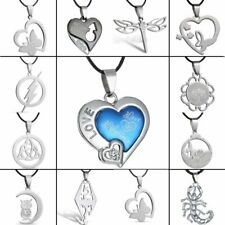 Stainless Steel Heart Dragonfly Butterfly Pendant Necklace Leather Men's Jewelry