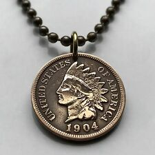 antique! USA Indian Head penny One Cent coin pendant NATIVE AMERICAN n000807