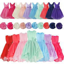 Flower Girl Dress Kids Wedding Bridesmaid Party Pageant Graduation Chiffon Dress