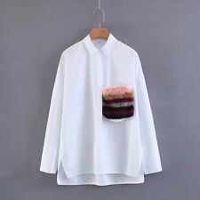 New Womens Decoration Pocket Long Sleeve Button Down Shirt Blouse Tops SML