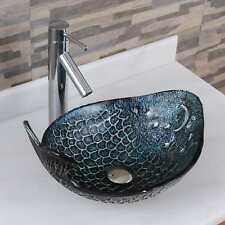 Elite Pacific Whale+2659 Pattern Tempered Glass Bathroom Vessel Sink With Faucet