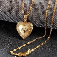 Heart allah pendant Jewelry Women 14K Fine Real Gold GF Muslim Open With Chain