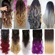 UK Ombre Dip Dye 8 Pcs Full Head Clip in As Human Hair Extensions Synthetic Mh1