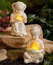 BOY OR GIRL SOLAR LIGHTED GARDEN YARD ANIMAL STATUE CARVED LOOK LAWN SCULPTURE