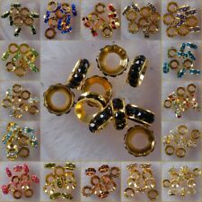 h2076-2094 Wholesale Big Hole Czech Crystal Rhinestone Pave Rondelle Spacer Bead