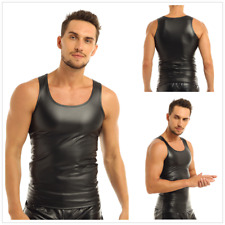 Men's Sexy Faux Leather Vest Sleeveless Tank Tops Undershirt Gym Muscle Shirts