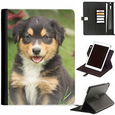 Dog Puppy Luxury Apple ipad 360 swivel i pad leather case cover with card slots