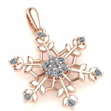 Natural 0.25carat Round Cut Diamond Ladies Fancy Snowflake Pendant 14K Gold