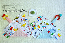 Dr. Seuss Cotton/Minky Baby Tag Ribbon Security Blanket w/Crochet Teething Ring