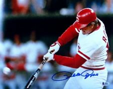Pete Rose Signed Autographed 11X14 Photo Reds Home Swing Close-Up Beckett