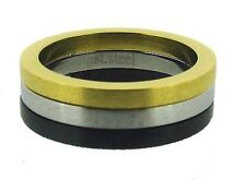 Gold, Silver and Black Brushed Finish Stainless Steel Ring 7, 8