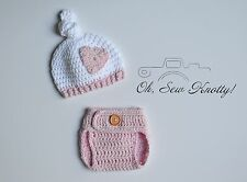Handmade Baby Pink Knot Heart Hat Crochet Photography Photo Prop & Diaper Cover