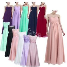 Women's Chiffon Bridesmaid Wedding Pageant Prom Gown Long Evening Formal Dress