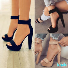 Womens Ankle Strap Platform High Heel Sandals Knit Weave Peep Toe Shoes 2 Color