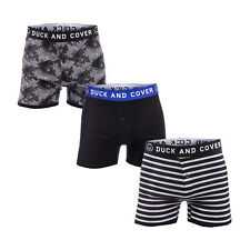 Mens Duck And Cover Roldan 3 Pack Boxer Shorts In Black- Button Fly- Elasticated
