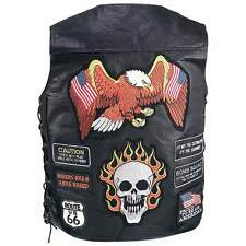 Motorcycle Vest Skull Eagle Buffalo Leather 23 Biker Patches Diamond Plate New