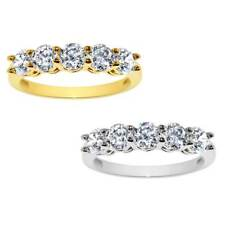 14k Yellow or White Gold 1 7/8ct TGW Round-cut Cubic Zirconia 5-Stone Ring -