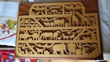 """Noahs ARK Hand Cut Wooden Ark on Mounted Cut with Scroll Saw 16x11"""""""