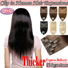 Full Head Mega Thick Clip in 100% Human Remy Hair Extensions 1-3dayFree Shipping