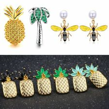 Fashion Bees Pineapple CZ Pearl Dangle Drop Ear Stud Earrings Women Lady Jewelry