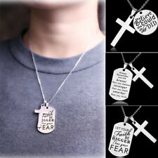 Silver Engraved Stainless Steel Cross Letter Pendant Necklace Men's Jewelry Gift