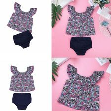 Toddler Infant Baby Girls Off Shoulder Floral Tops Bloomers Outfit Clothes Set