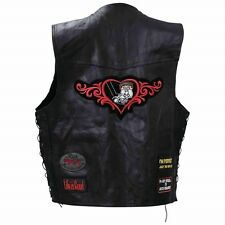 Motorcycle Ladies Vest Leather Rt66 Design Lacing Pink Biker Black New S to 3X