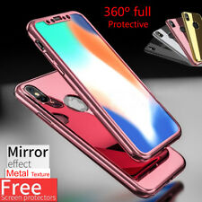 Mirror Hybrid 360° Hard Thin Case + Tempered Glass Cover For iPhone X/8/8 Plus
