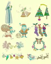 Christmas Mola Machine Embroidery CD-44 Designs +Greetings-By Anemone Embroidery