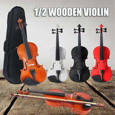 1/2 FULL SIZE WOODEN VIOLIN CASE BOW INSTRUMENT ROSIN STRINGS BEGINNERS FAST