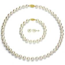 DaVonna 14k Yellow Gold 6.5-7 mm White Akoya Cultured Pearl Jewelry Set