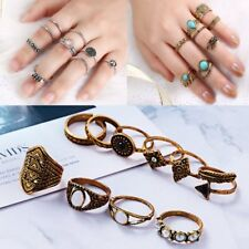 10Pcs/Set Retro Rings Urban Gold Plated Plain Above Knuckle Ring Band Midi Rings