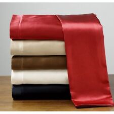 New Silk Soft Feel Polyester Satin Full Size Flat Fitted Sheet Pillowcase Set