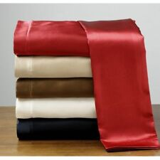 Soft Silk Feel Polyester Satin King Flat Fitted Sheet & Pillowcase Deep Pocket