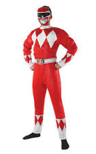 Mens Adult Red Mighty Morphin Power Ranger Fancy Dress Costume Outfit Rubies XL