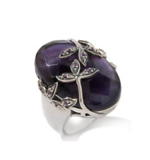 New Amy Kahn Russell 27.21ct Amethyst Sterling Artsy Bold Floral Ring 10, 7 RARE