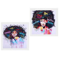 2 Panel Canvas Print Oil Painting Wall Picture Home Decor - Afro-hair Girl