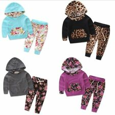 2pcs Newborn Baby Girls Outfits Hooded Tops+Pants Clothes set 4 Color