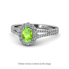 Oval Cut Peridot and Diamond Halo Engagement Ring 1.08 ctw 14K Gold JP:129770