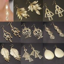 Fashion Hollow Gold Leaf Round Big Drop Dangle Earrings Women Jewelry Party Gift