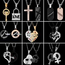 Stainless Steel Crystal Rhinestone Lovers Joint Pendant Necklace Fashion Jewelry