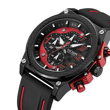 Megir Men Quartz Analog WristWatch Chronograph Date Silicone Band Fashion Sport