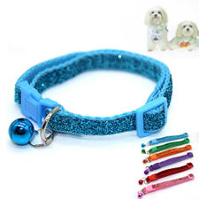 JN_ Sequins Pet Collar Dog Cat Quick Release Buckle Necklace with Bell Pendant