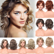 Fashion Women Ladies Full Wig Curly Straight Ombre Brown Blonde Auburn Wigs Hh3