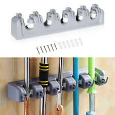 5 Position Wall Mount Magic Mop and Broom Holder Hanger Cleaning Tools Organizer